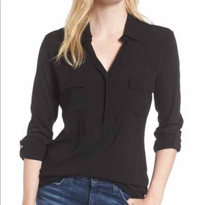 Black 3x splendid lightweight long sleeve blouse